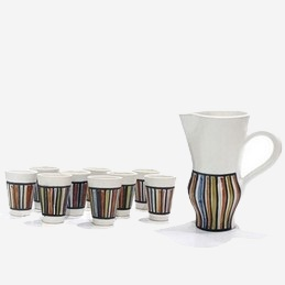 Pitcher and 9 Cups with decor Rayures