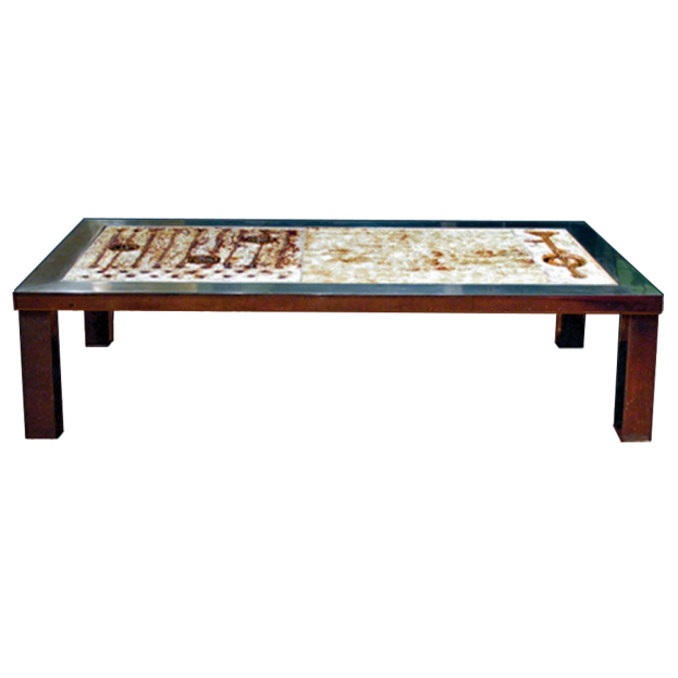 Coffee Table W Ceramic Inset And Stainless Steel Frame