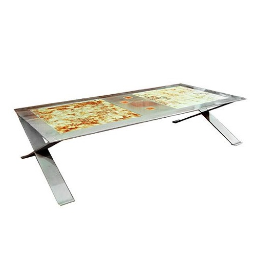 Stainless Steel Coffee table with Ceramic Insert top