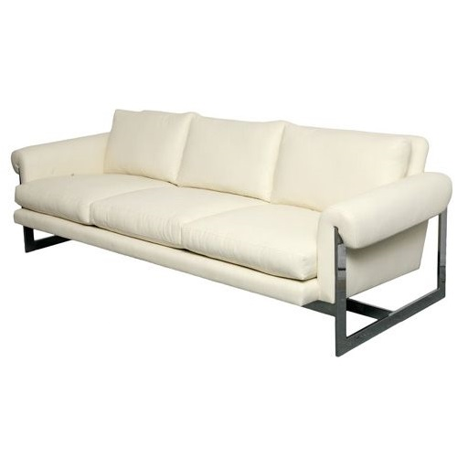White Ultra-Leather Sofa With Chromed Metal Frame
