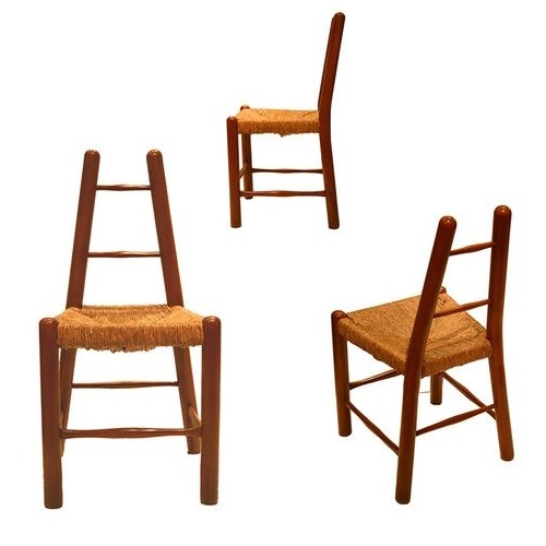 Pair of Country Chairs in Style of Charlotte Perriand
