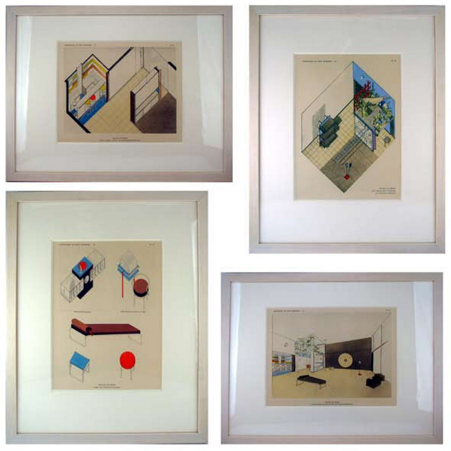 Set of Four Framed Architectural Projections
