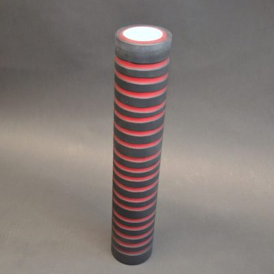 Striped Glass Vase (black & red)