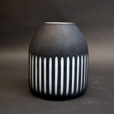 Striped Glass Vase (black & white)