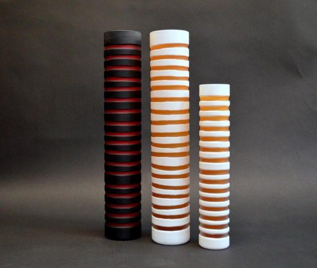 Striped Glass Vase (yelllow & white)