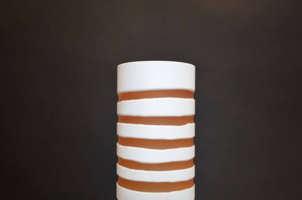 Striped Glass Vase (yelllow & white)