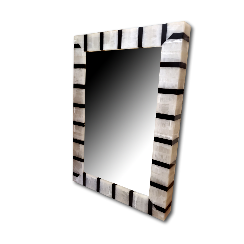 Large Onyx Mirror With Black Lines