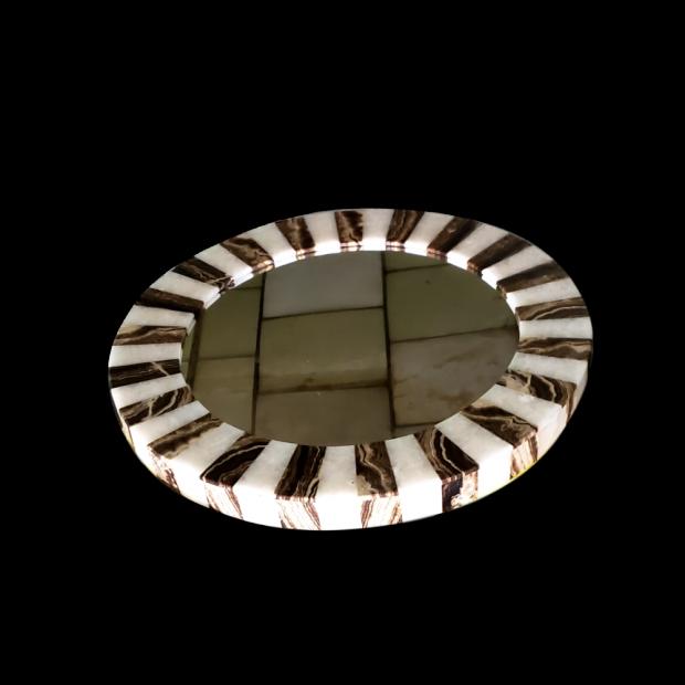 Medium Onyx Mirror With Stripes 11b