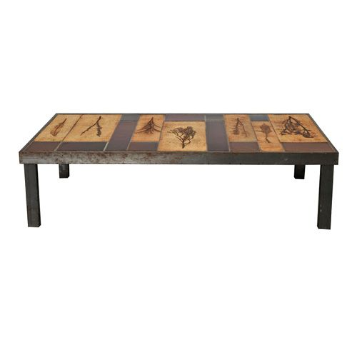 Rectangular 'Garrigue' coffee table by Roger Capron
