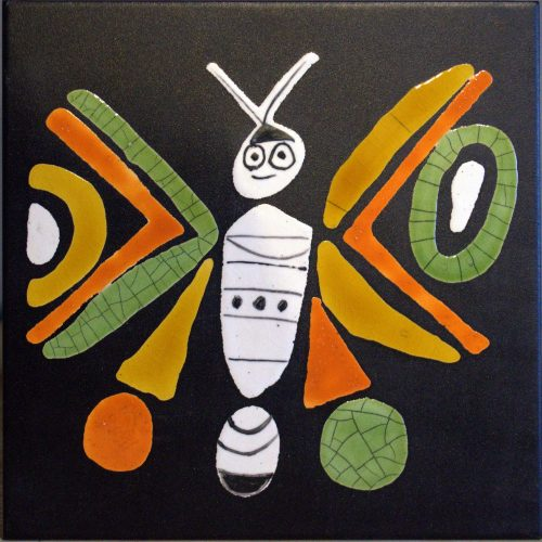 Black Slate Tile With Orange And Green Butterfly By Roger Capron