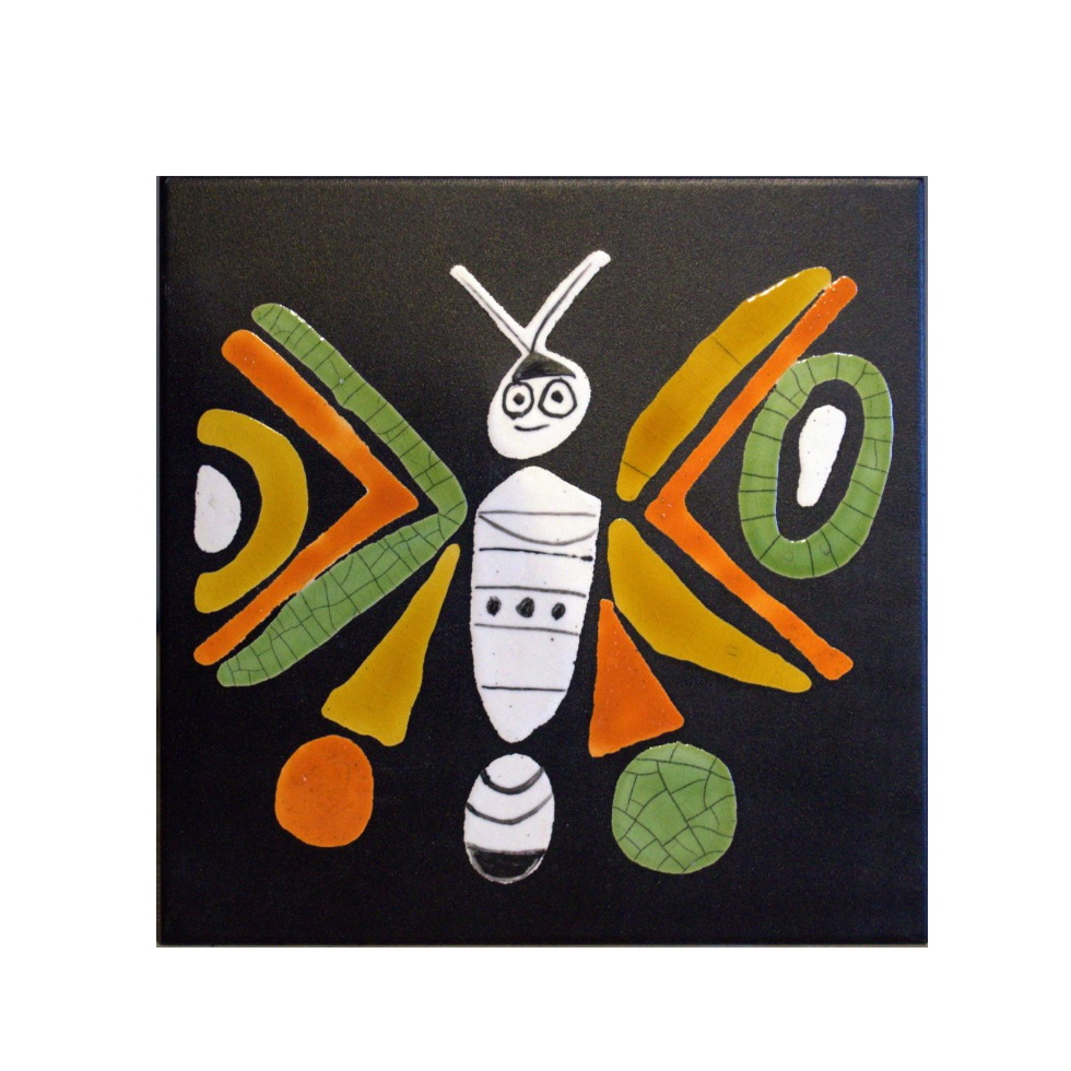 Black Slate Tile With Orange And Green Butterfly By Roger Capron 980x980 (1)