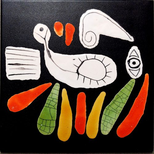Black Slate Tile With Orange And Green Indian By Roger Capron
