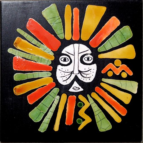 Black Slate Tile With Orange And Green Lion By Roger Capron