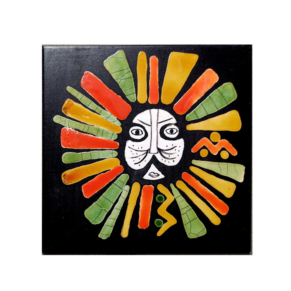 Black Slate Tile With Orange And Green Lion By Roger Capron 980x980