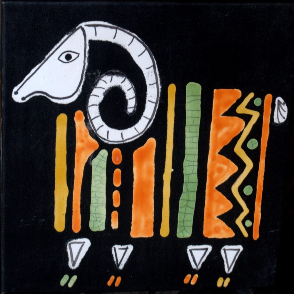 Black Slate Tile With Orange And Green Ram By Roger Capron