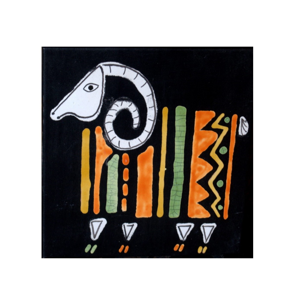 Black Slate Tile With Orange And Green Ram By Roger Capron 980x980