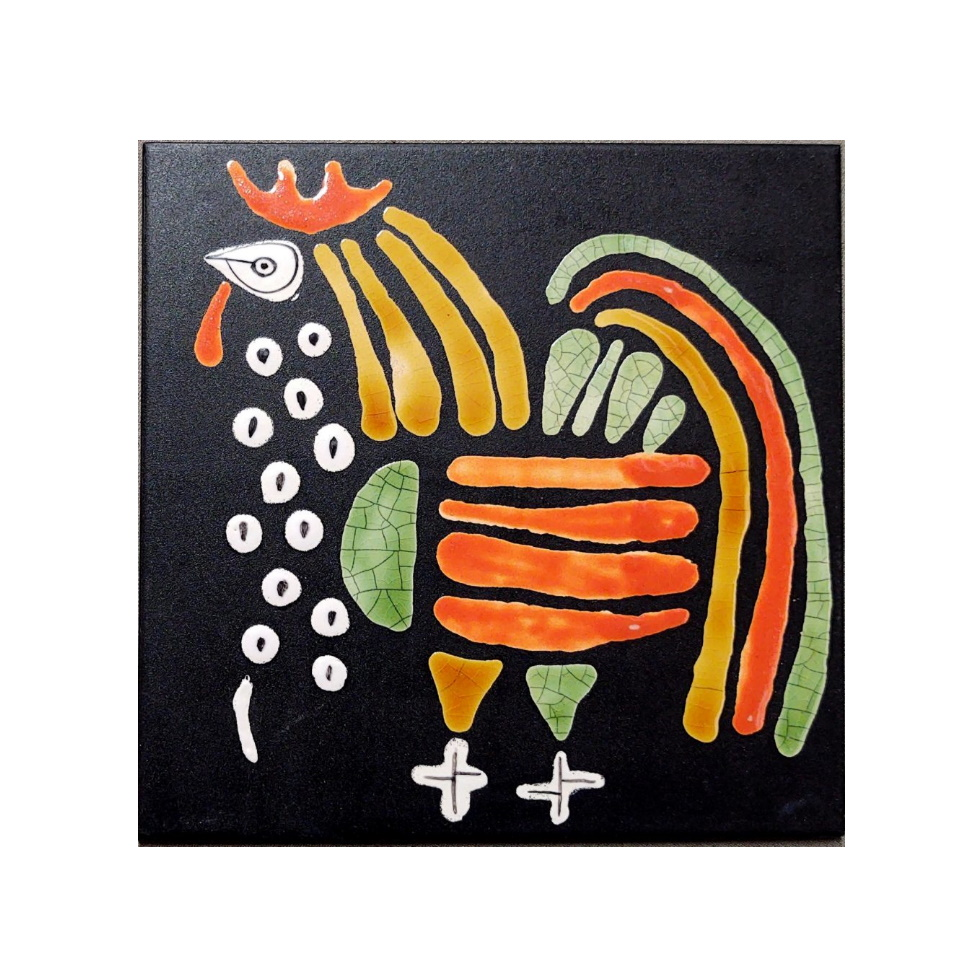 Black Slate Tile With Orange And Green Rooster By Roger Capron 980x980