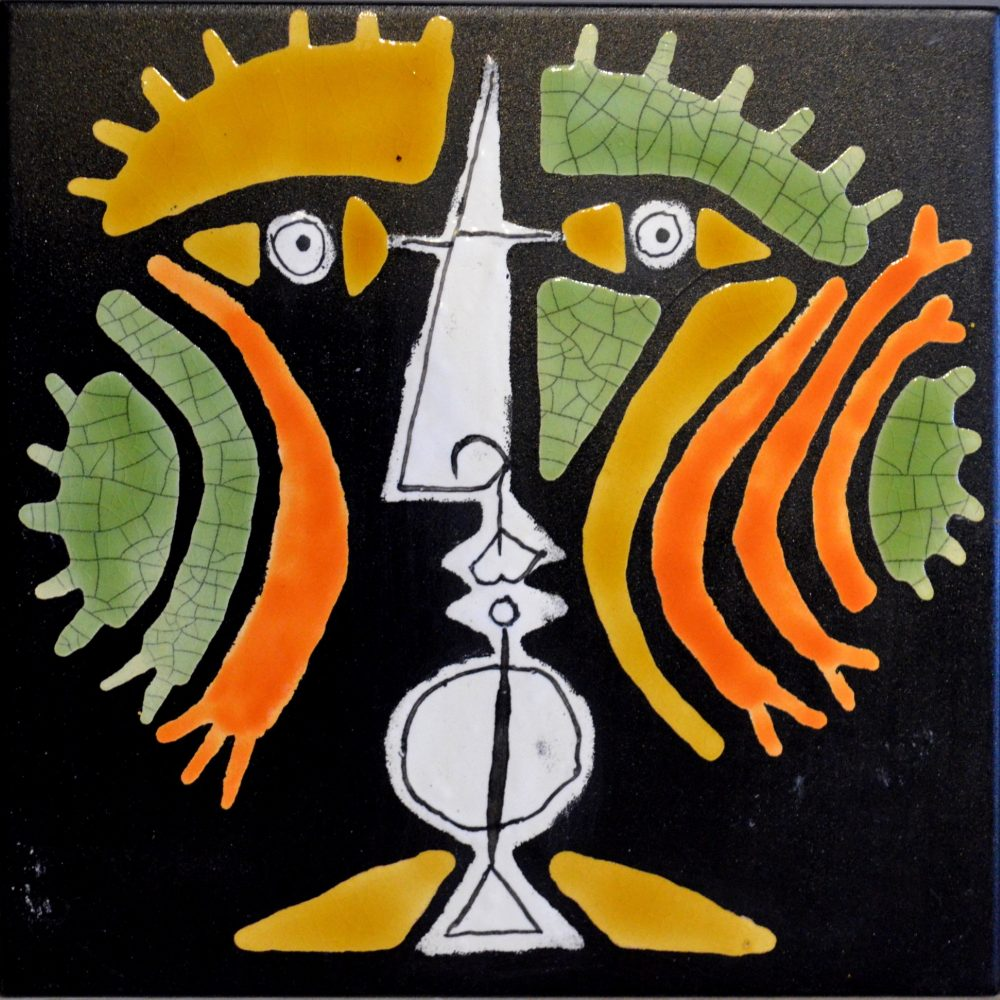 Black Slate Tile With Orange And Green Warrior By Roger Capron