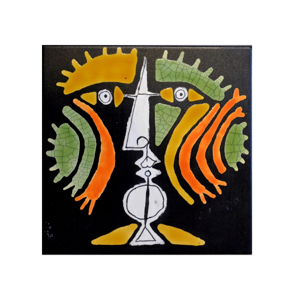 Black Slate Tile With Orange And Green Warrior By Roger Capron 980x980