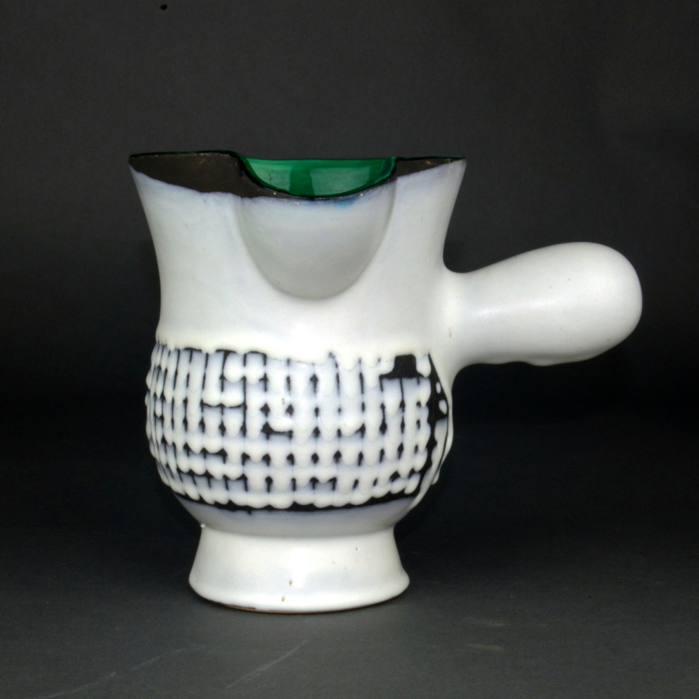 Ceramic Chocolate Saucer With Green Rim By Roger Capron 2