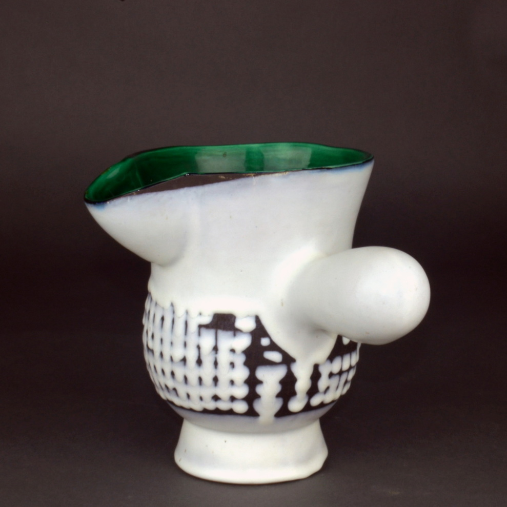 Ceramic Chocolate Saucer With Green Rim By Roger Capron 3