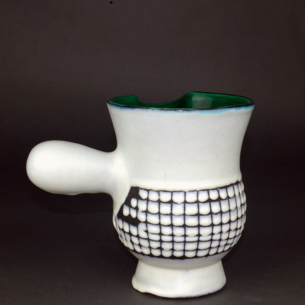 Ceramic Chocolate Saucer With Green Rim By Roger Capron 4
