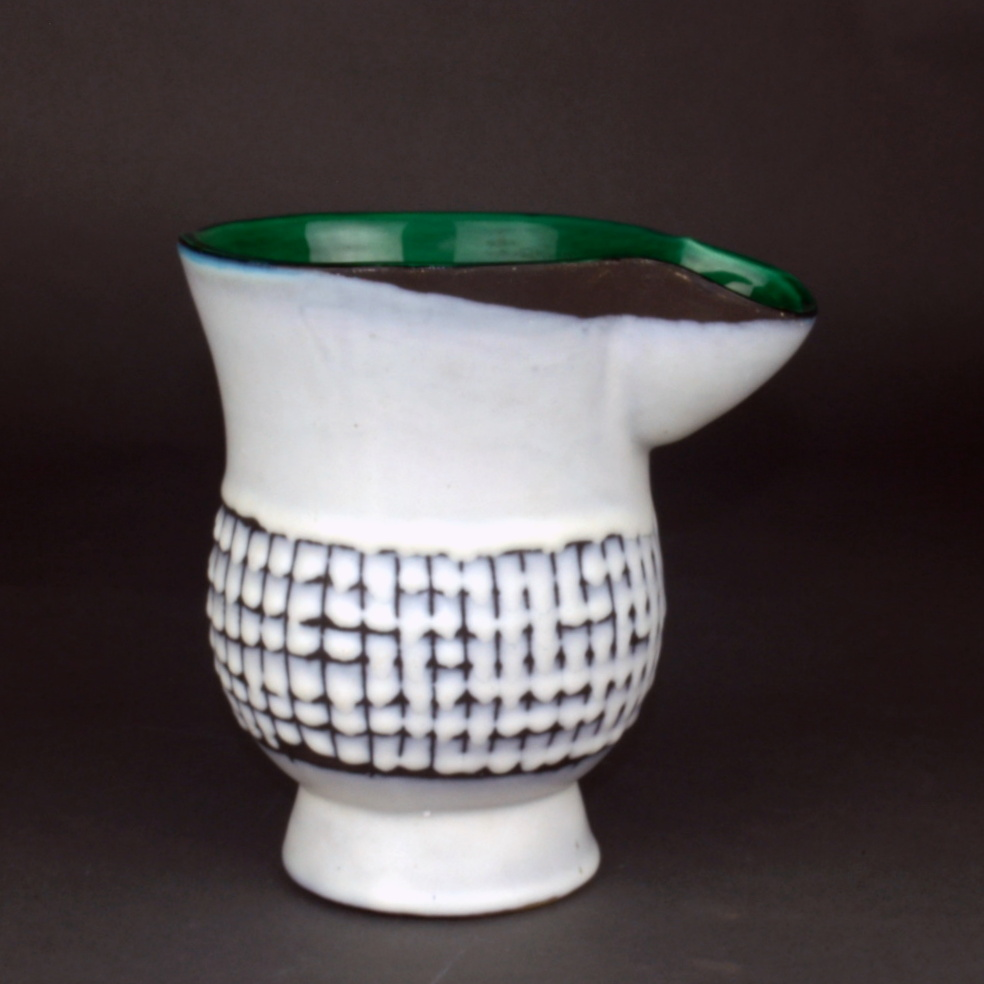 Ceramic Chocolate Saucer With Green Rim By Roger Capron 5