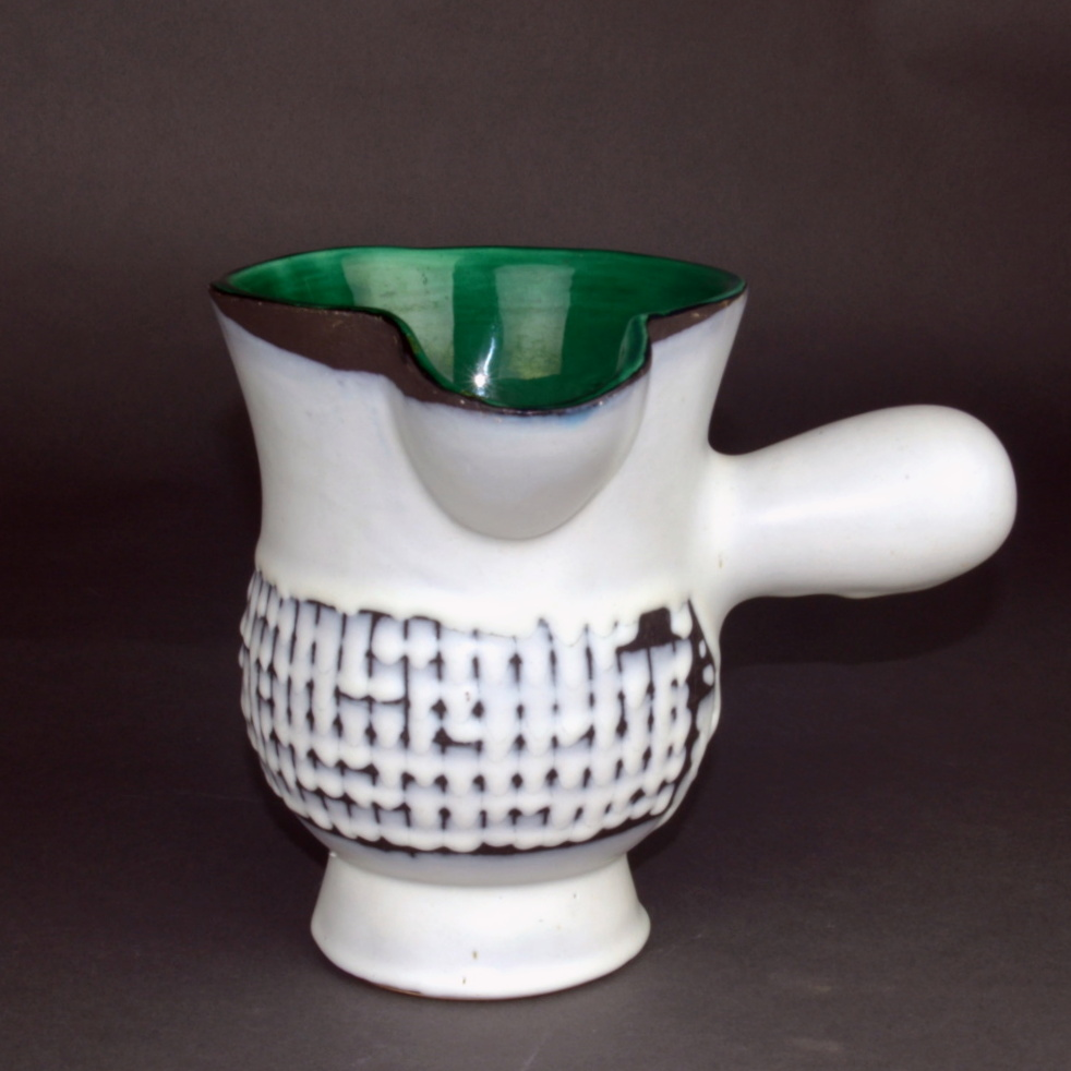 Ceramic Chocolate Saucer With Green Rim By Roger Capron 6