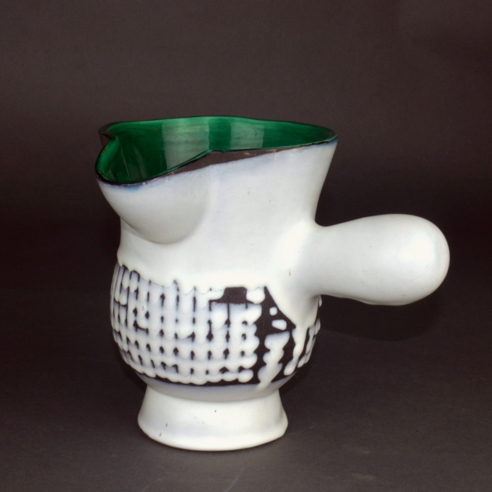 Ceramic Chocolate Saucer With Green Rim By Roger Capron 7