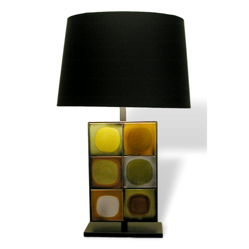 Ceramic Table Lamp With 6 Roger Capron Tiles By Gueridon Designs