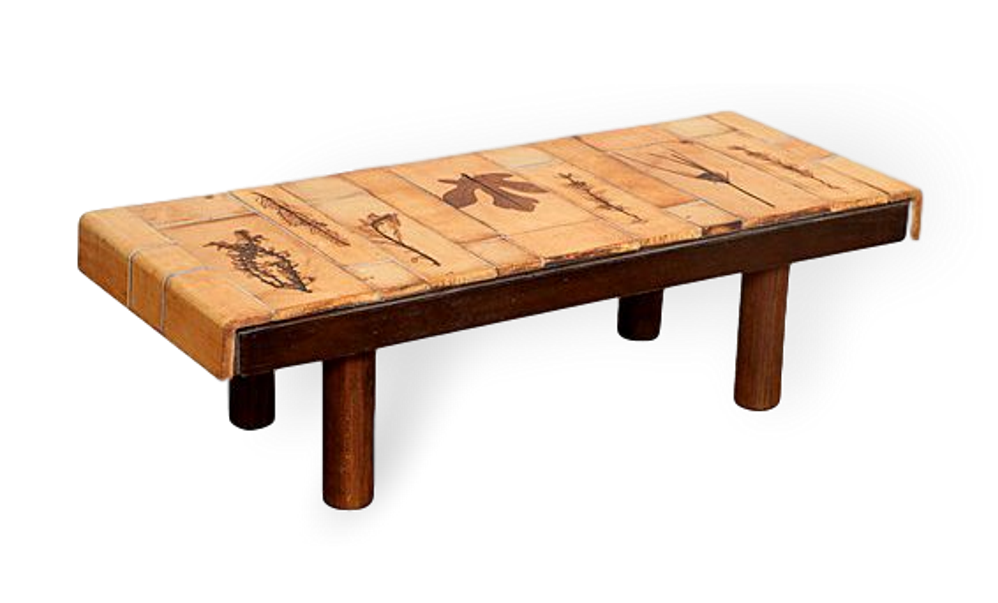 Coffee Table By Roger Capron With Garrigue Tiles