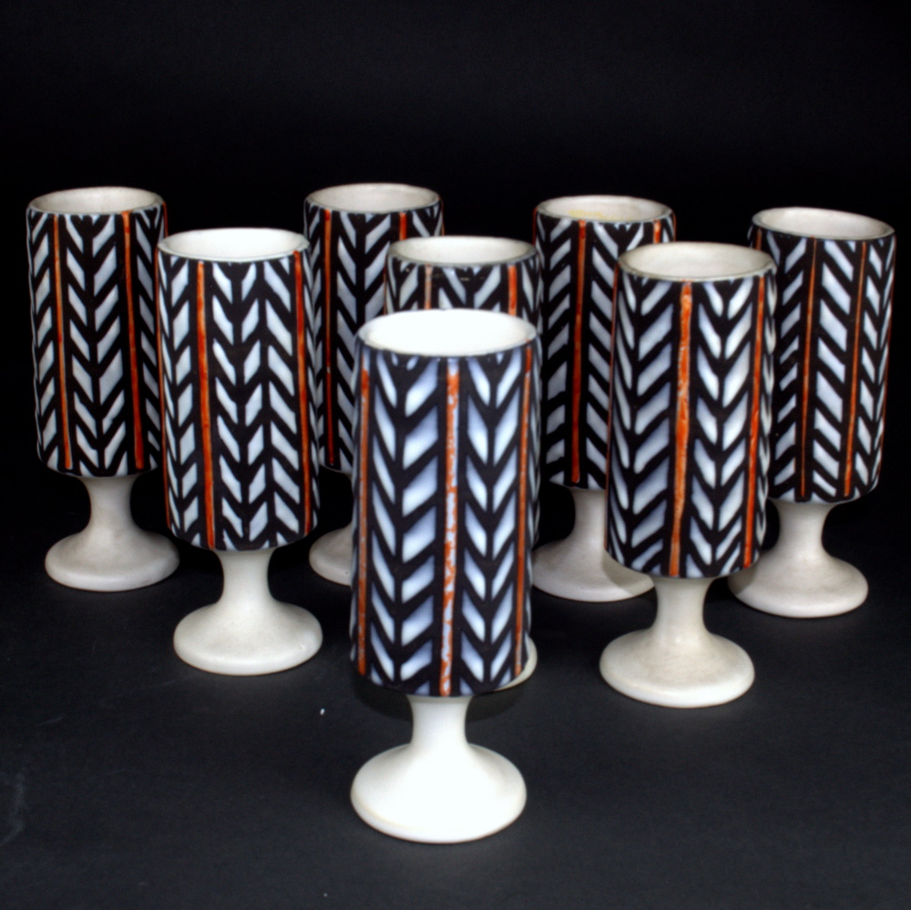 Set Of 8 Ceramic Mugs By Roger Capron 3