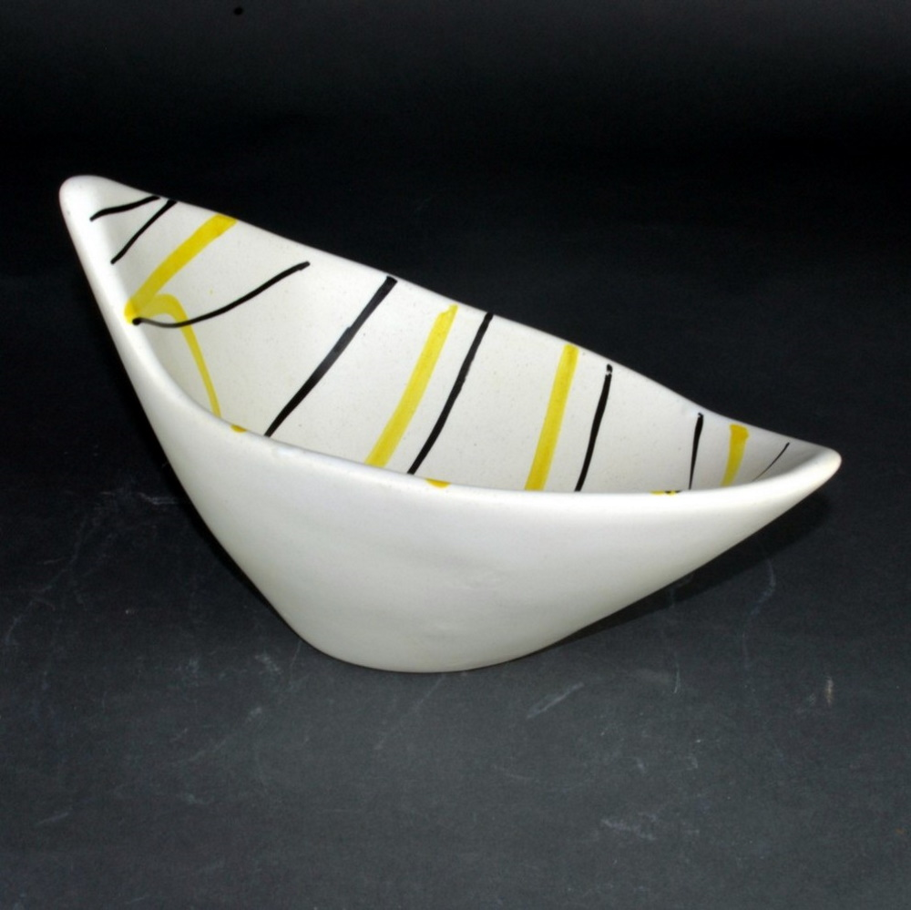 Slanted Ceramic Bowl With Yellow And Black Lines By Roger Capron 1
