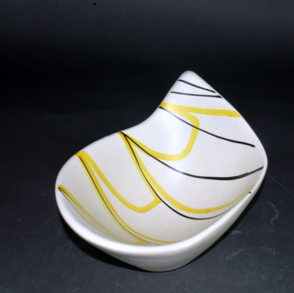 Slanted Ceramic Bowl With Yellow And Black Lines By Roger Capron 3