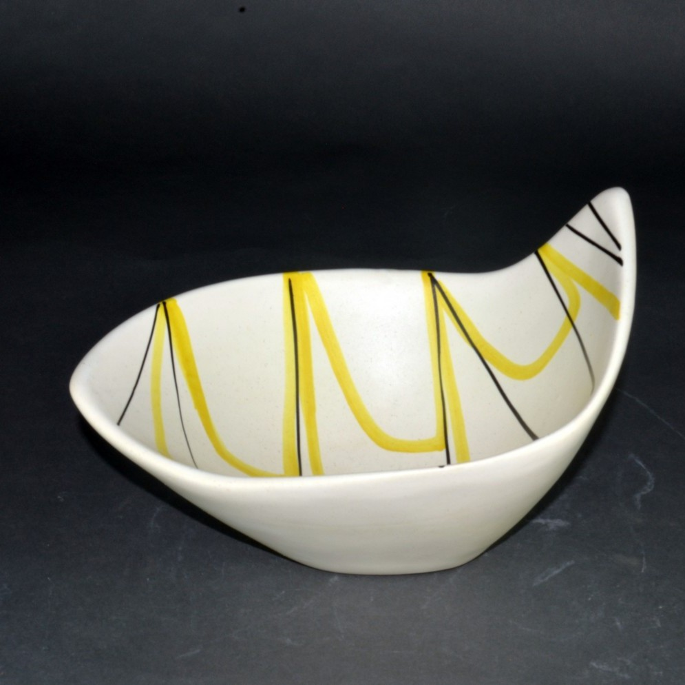 Slanted Ceramic Bowl With Yellow And Black Lines By Roger Capron 4