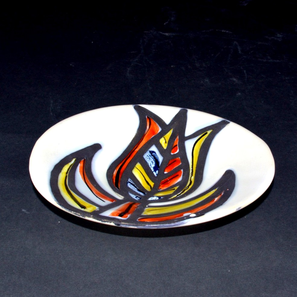Small Ceramic Plate With Flower By Roger Capron 5