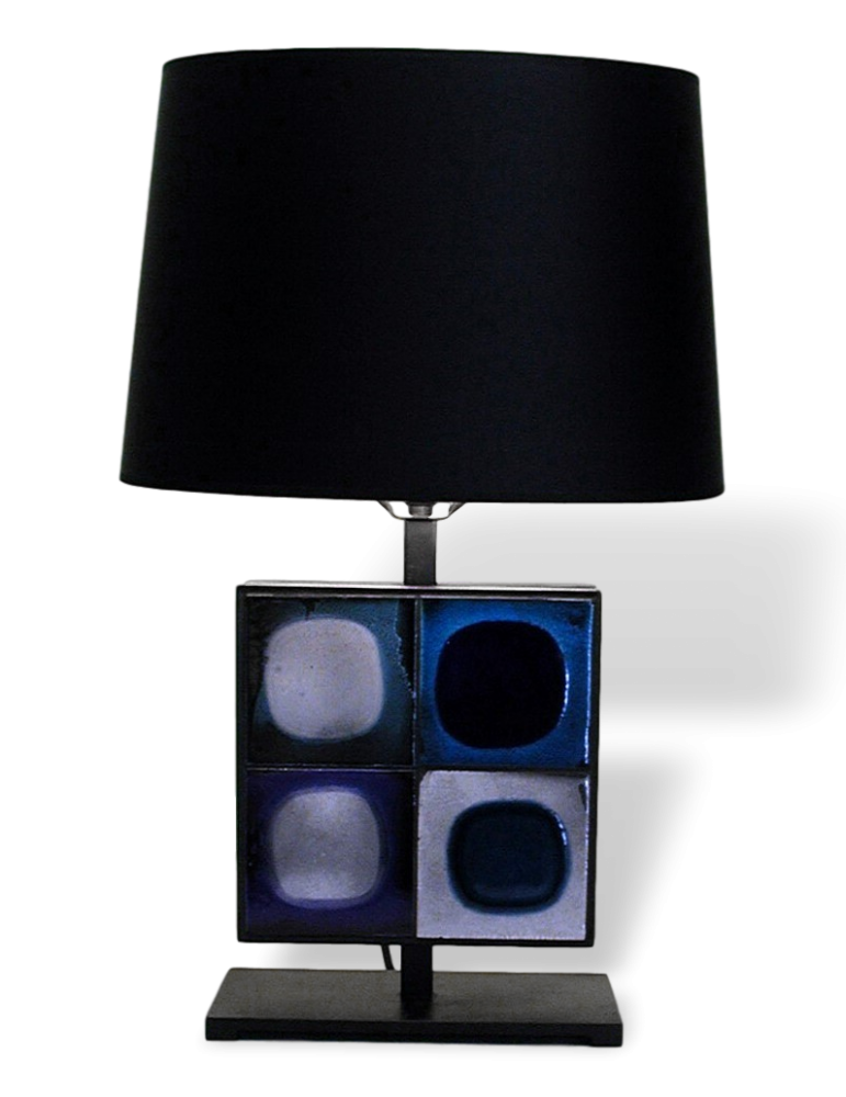 Table Lamp With Blue Roger Capron Tiles By Gueridon Design