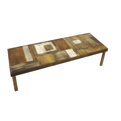 Vintage Coffee Table With Lava Tiles By Roger Capron C71 14
