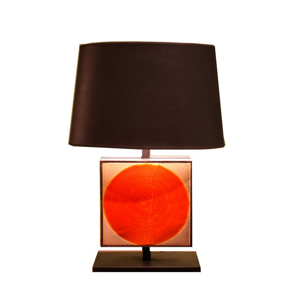 Vintage Lamp With Roger Capron Lava Tiles By Gueridon