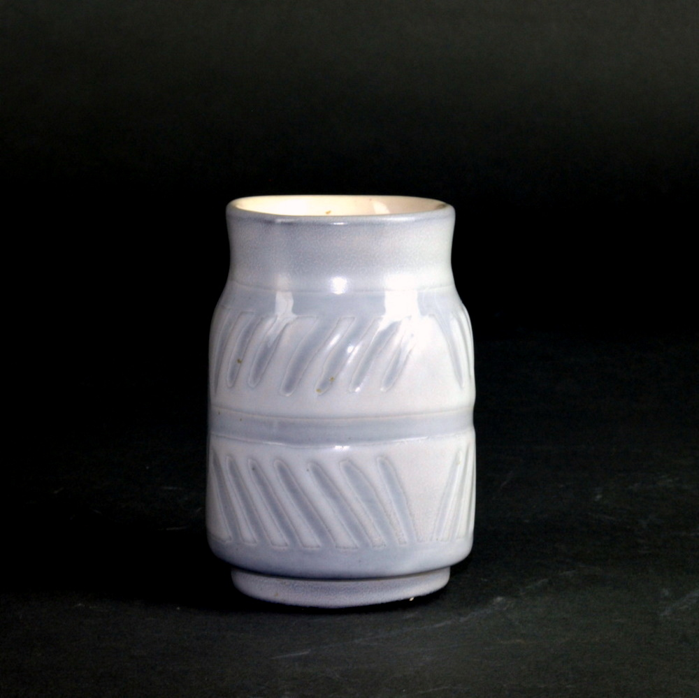 White And Grey Ceramic Container By Roger Capron 1