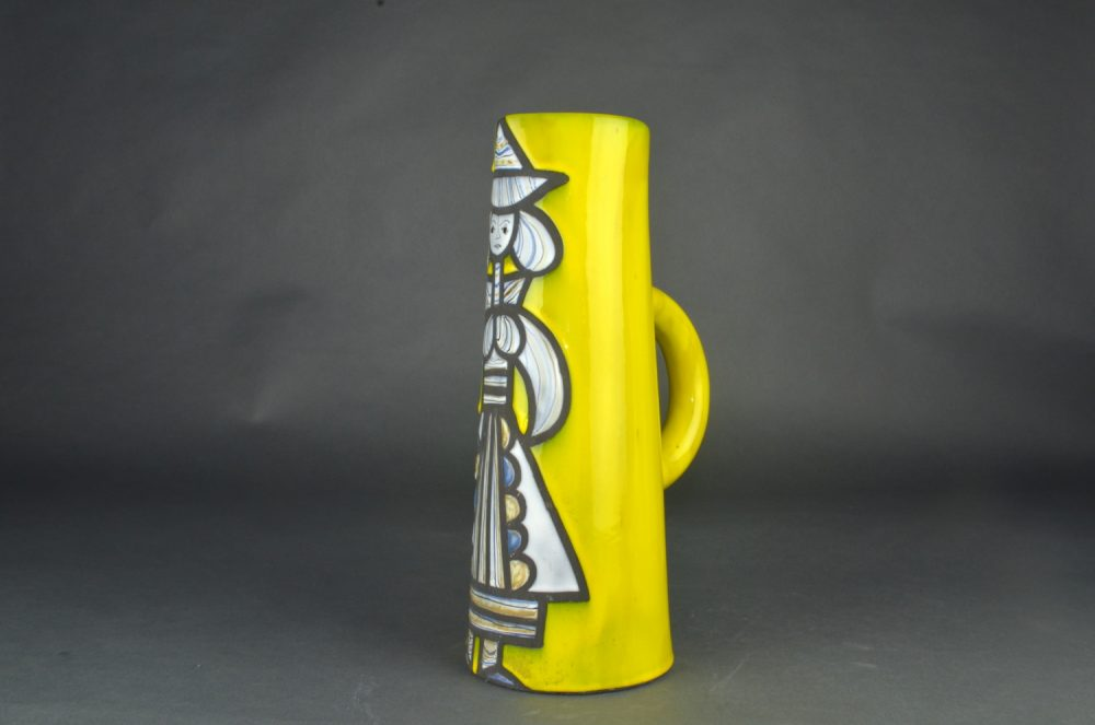 Yellow Ceramic Pitcher With Blue Girl By Roger Capron 1
