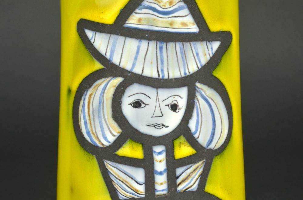 Yellow Ceramic Pitcher With Blue Girl By Roger Capron 7