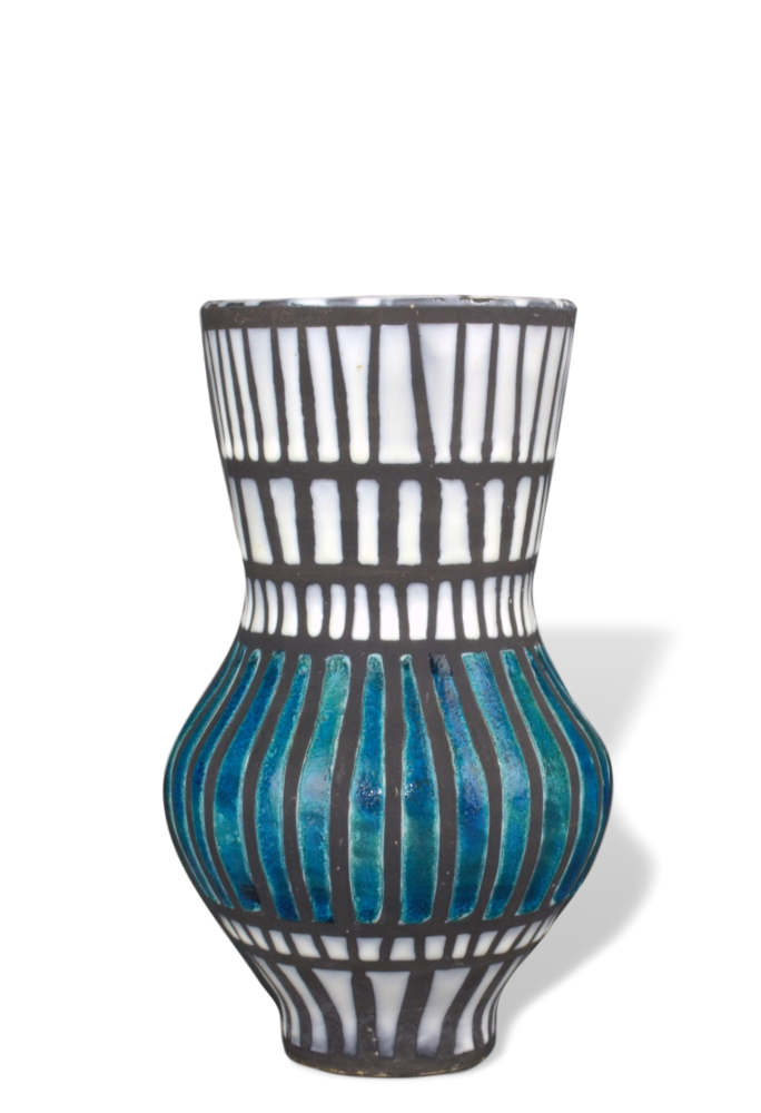 Blue And White Vase By Roger Capron