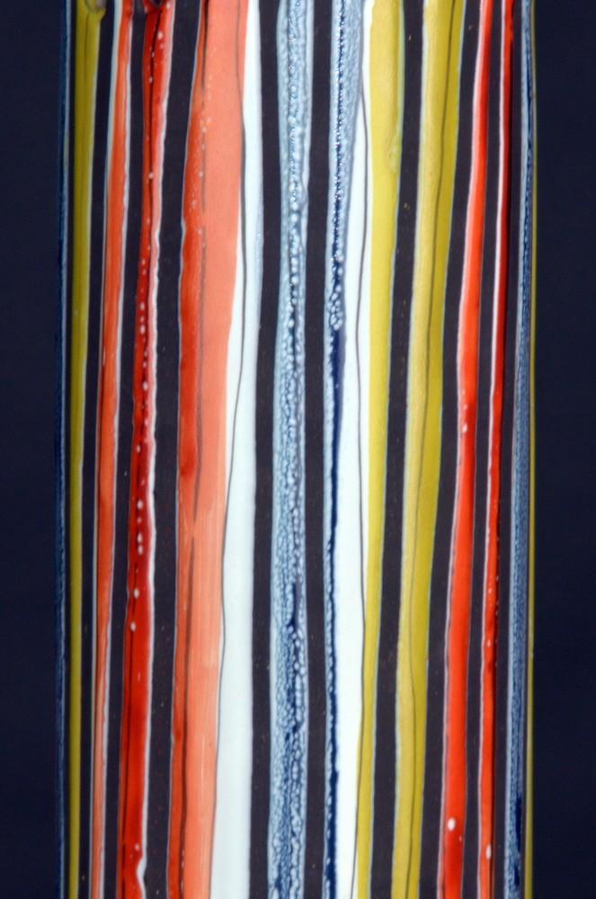 Ceramic Ceiliing Lamp Stripes By Roger Capron Closeup