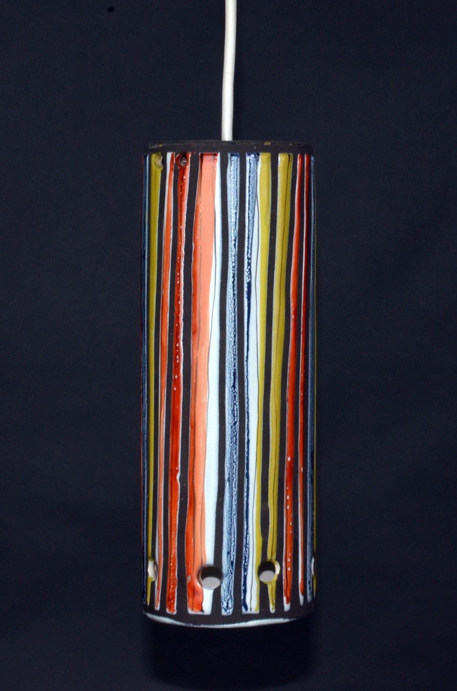 Ceramic Ceiliing Lamp Stripes By Roger Capron