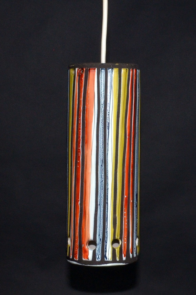 Ceramic Ceiliing Lamp With Stripes By Roger Capron