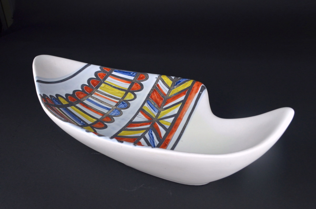 Ceramic Dish With Banded Design By Roger Capron 20
