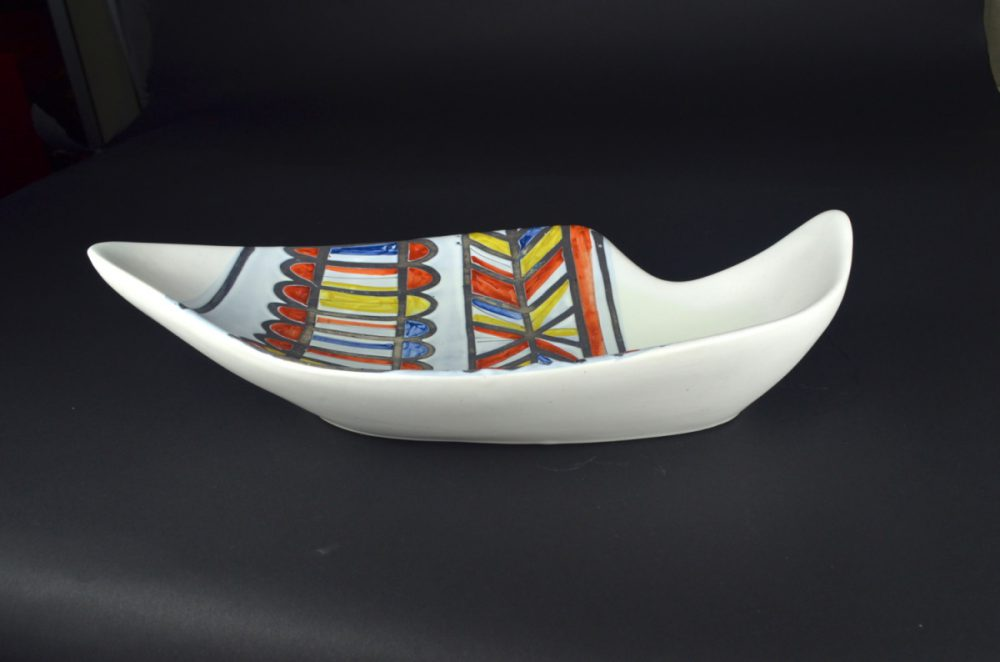 Ceramic Dish With Banded Design By Roger Capron 211
