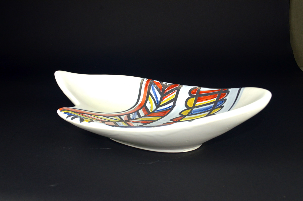 Ceramic Dish With Banded Design By Roger Capron 215