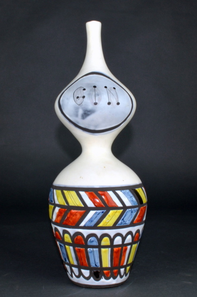 Ceramic Flask 'gin' By Roger Capron 3